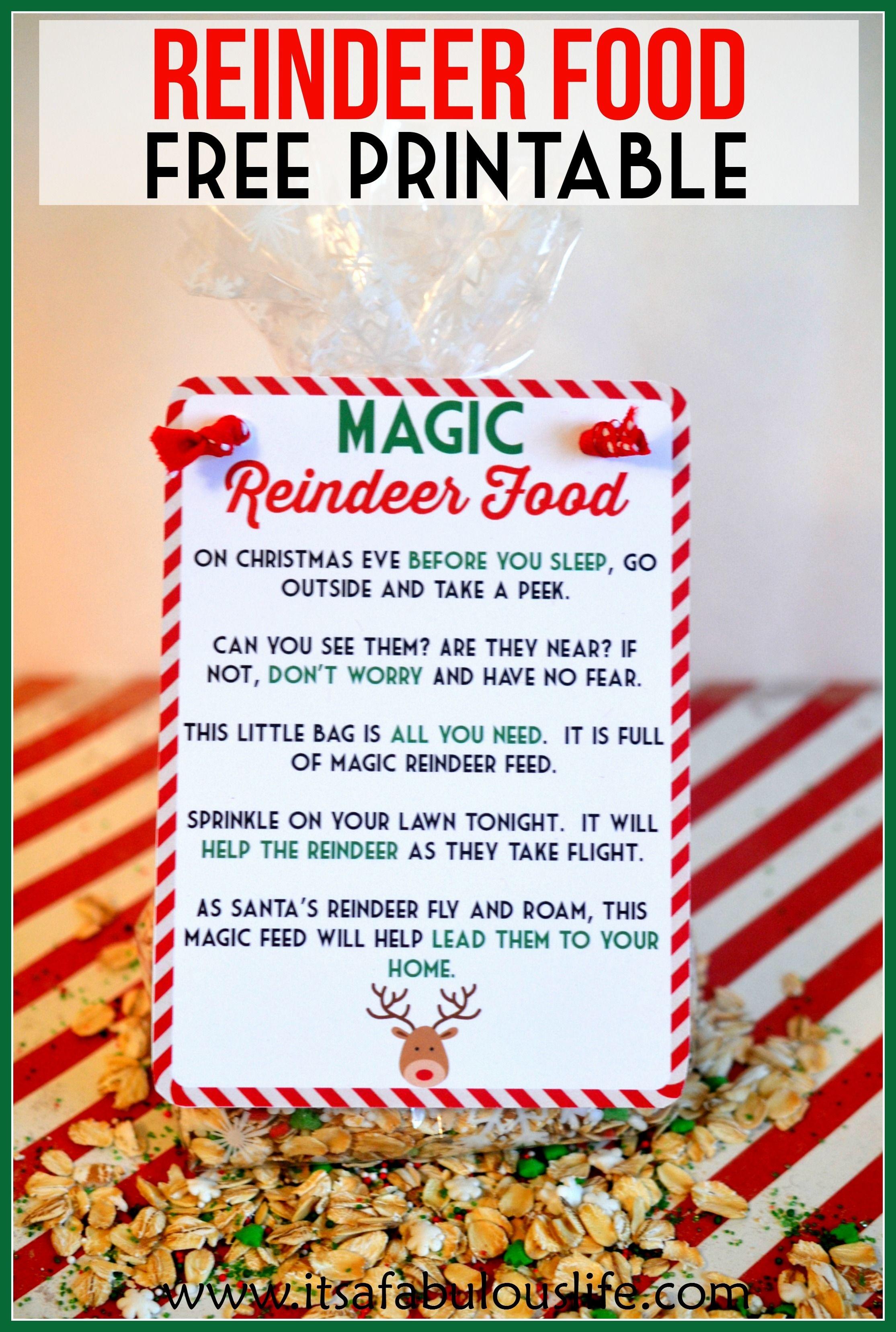 Magic Reindeer Food Poem & Free Printable - It's A Fabulous Life - Reindeer Food Poem Free Printable