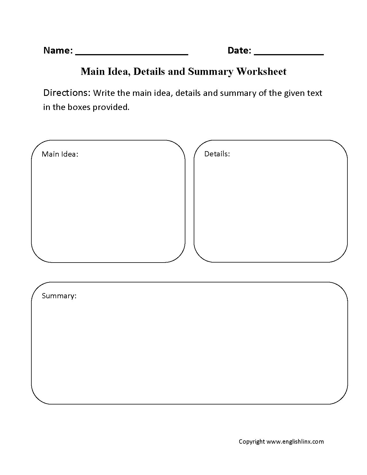 Main Idea Worksheets   Main Idea, Details And Summary Worksheet - Free Printable Main Idea Graphic Organizer