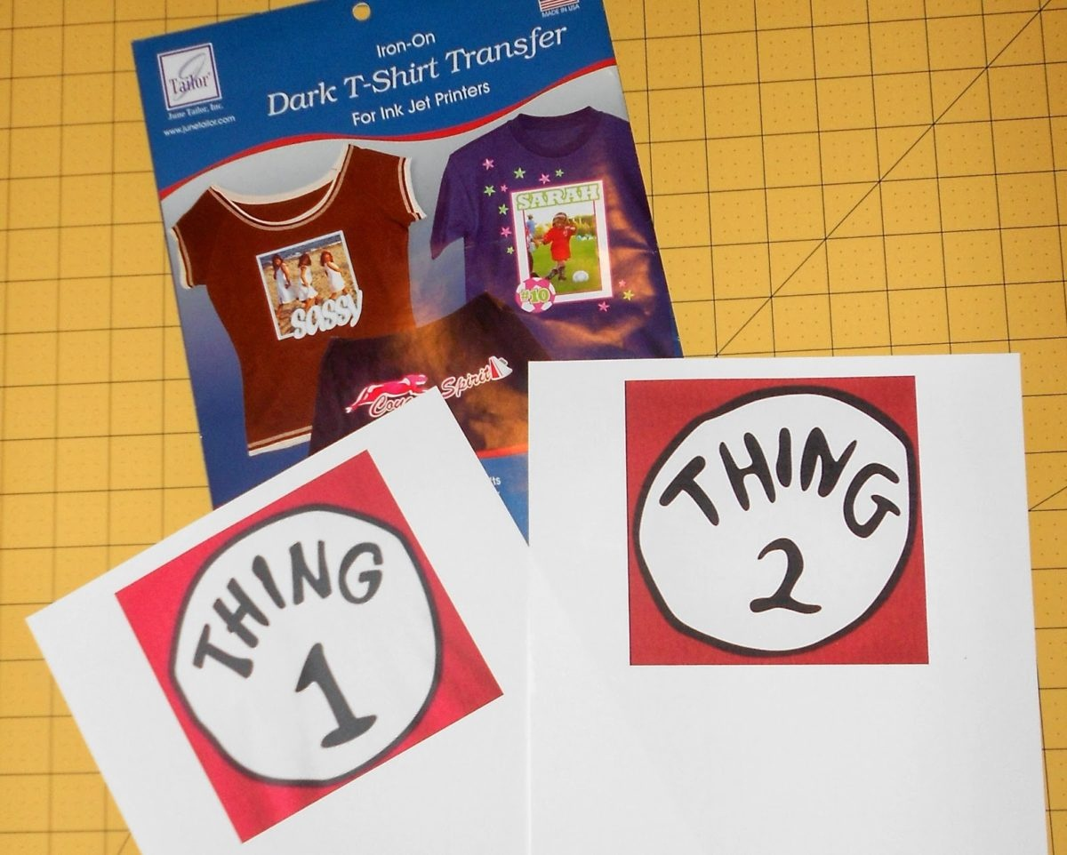 Make A No-Sew Dr. Seuss Shirt Thing One And Thing Two - Just A - Free Printable Iron On Transfers For T Shirts