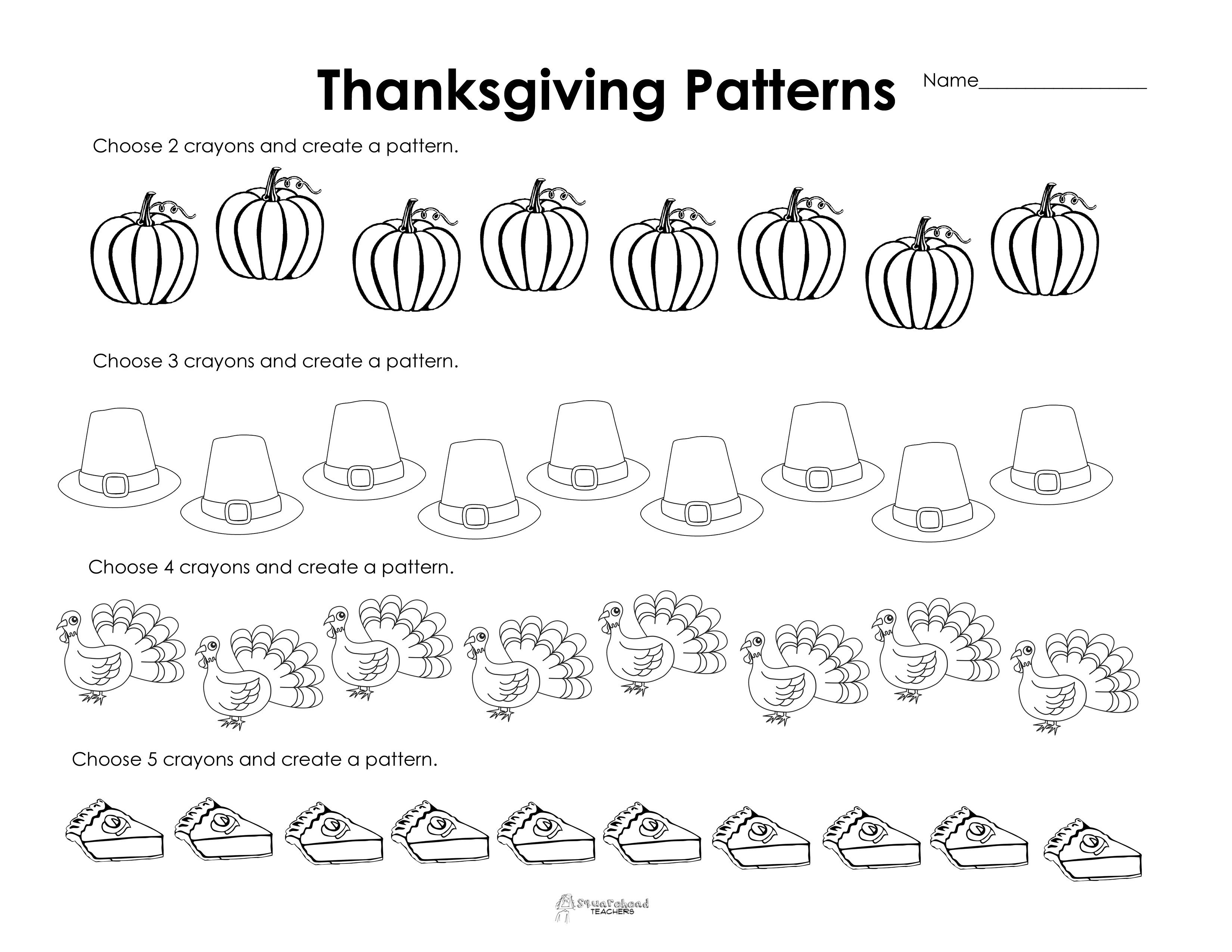 Making Patterns: Thanksgiving Style (Free Worksheet!) | Squarehead - Free Printable Thanksgiving Worksheets