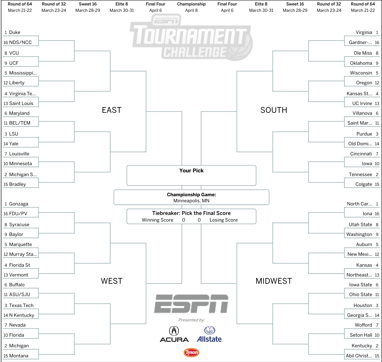 March Madness 2019: Get Your Printable Ncaa Bracket From Espn - Free Printable Brackets