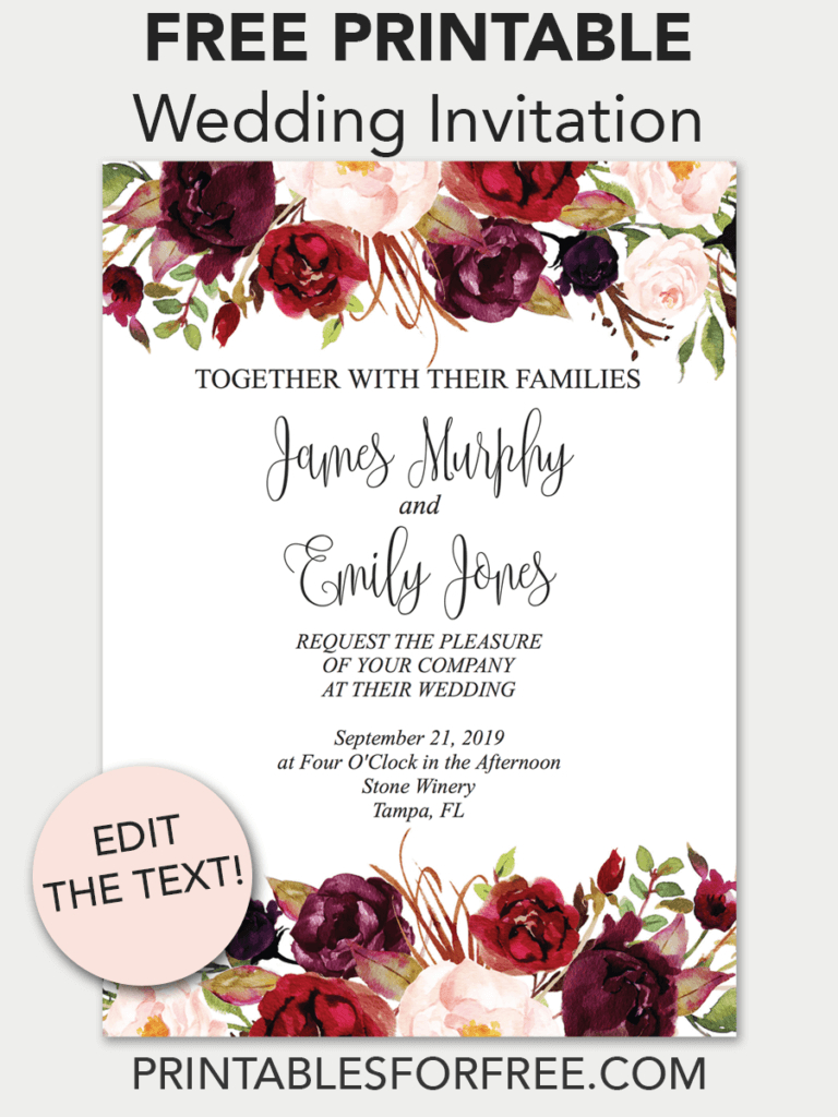 Marsala Floral Printable Wedding Invitation | Invitations - Free - Free Printable Wedding Invitations Templates Downloads