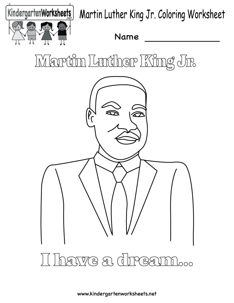 Martin Luther King Jr. Coloring Worksheet - Free Kindergarten - Free Printable Martin Luther King Jr Worksheets