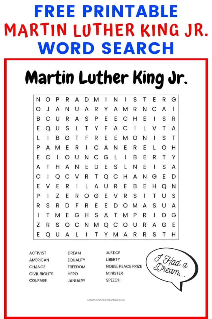 Martin Luther King Jr. Free Printable Word Search Worksheet - Free Printable Martin Luther King Jr Worksheets