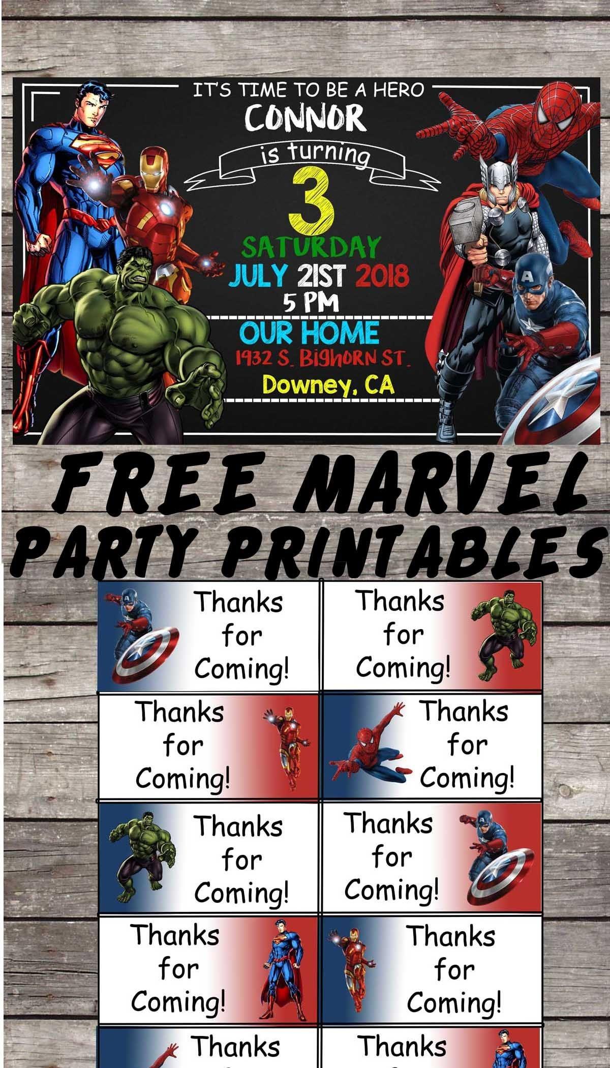 Marvel   Avengers   Birthday Party Printable Files   Invitations - Avengers Party Invitations Printable Free