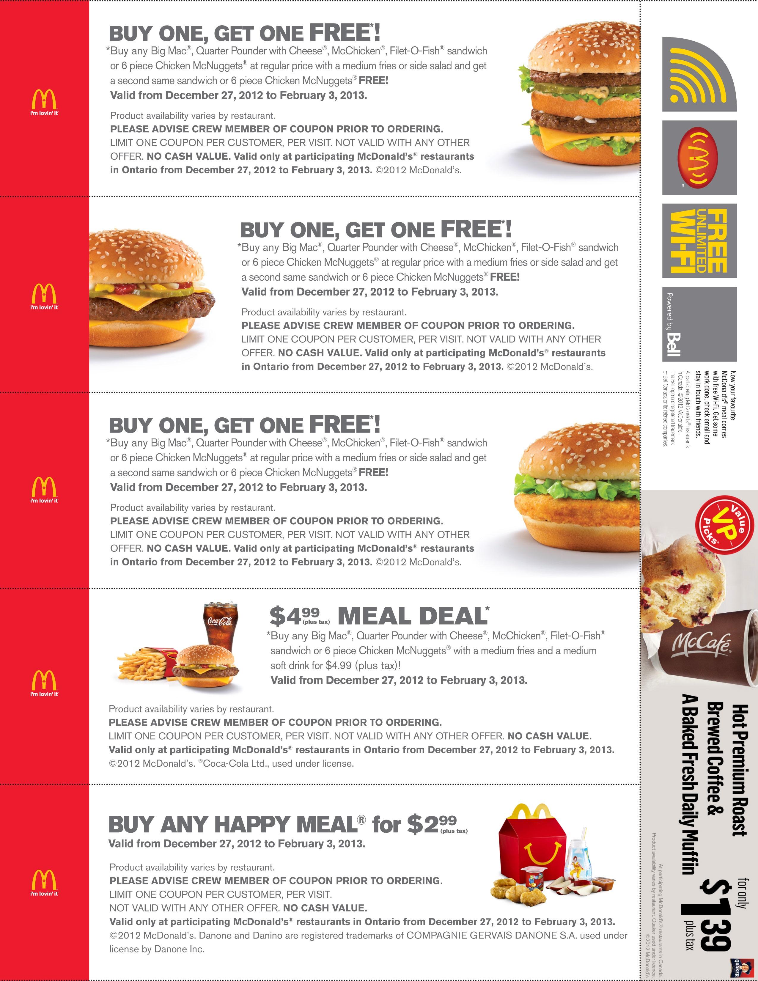 Mcdonald's Specials Bogo – Print Free Coupon (4) – Printable Coupons - Free Printable Mcdonalds Coupons Online