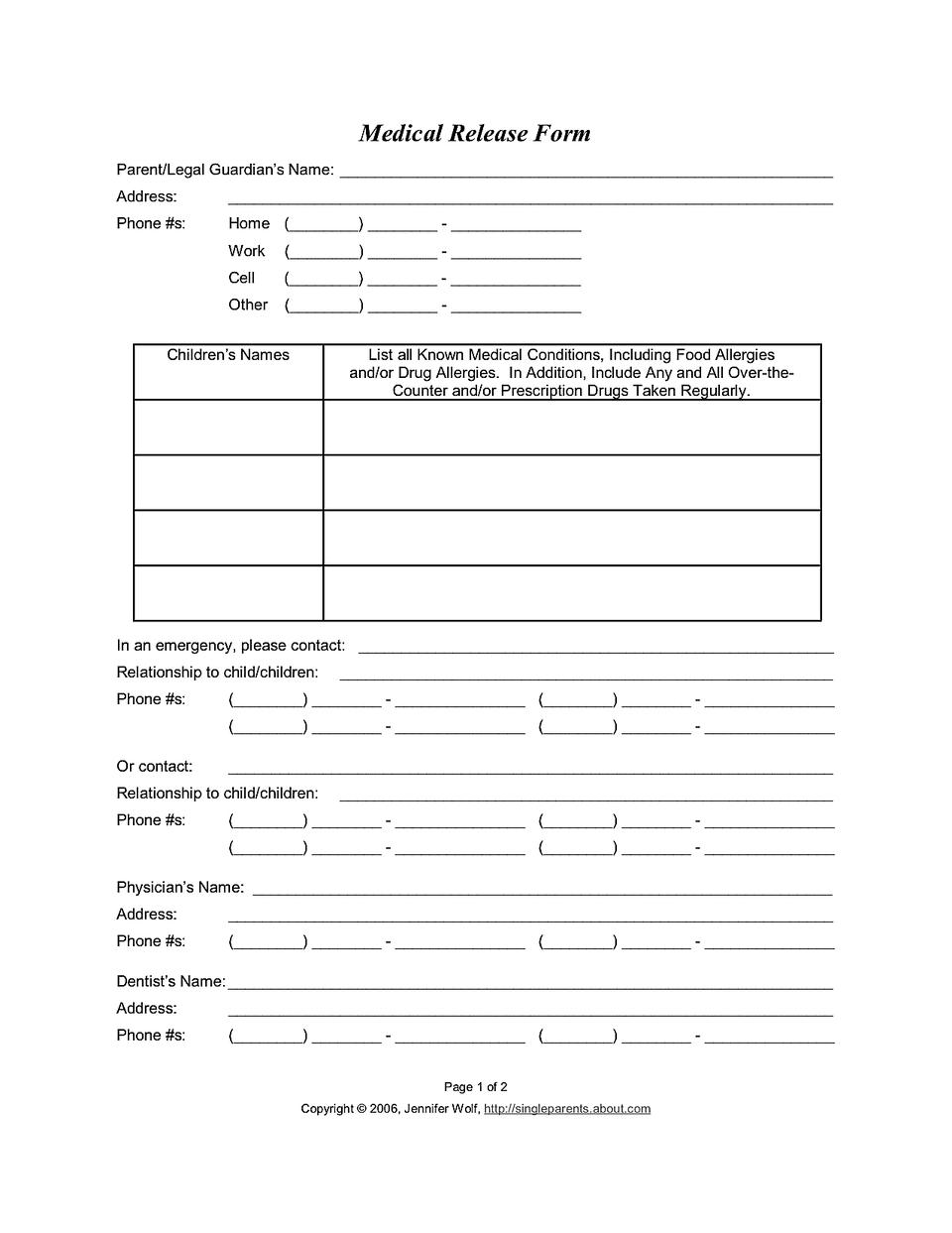 Medical Release Form For - Free Printable Medical Release Form