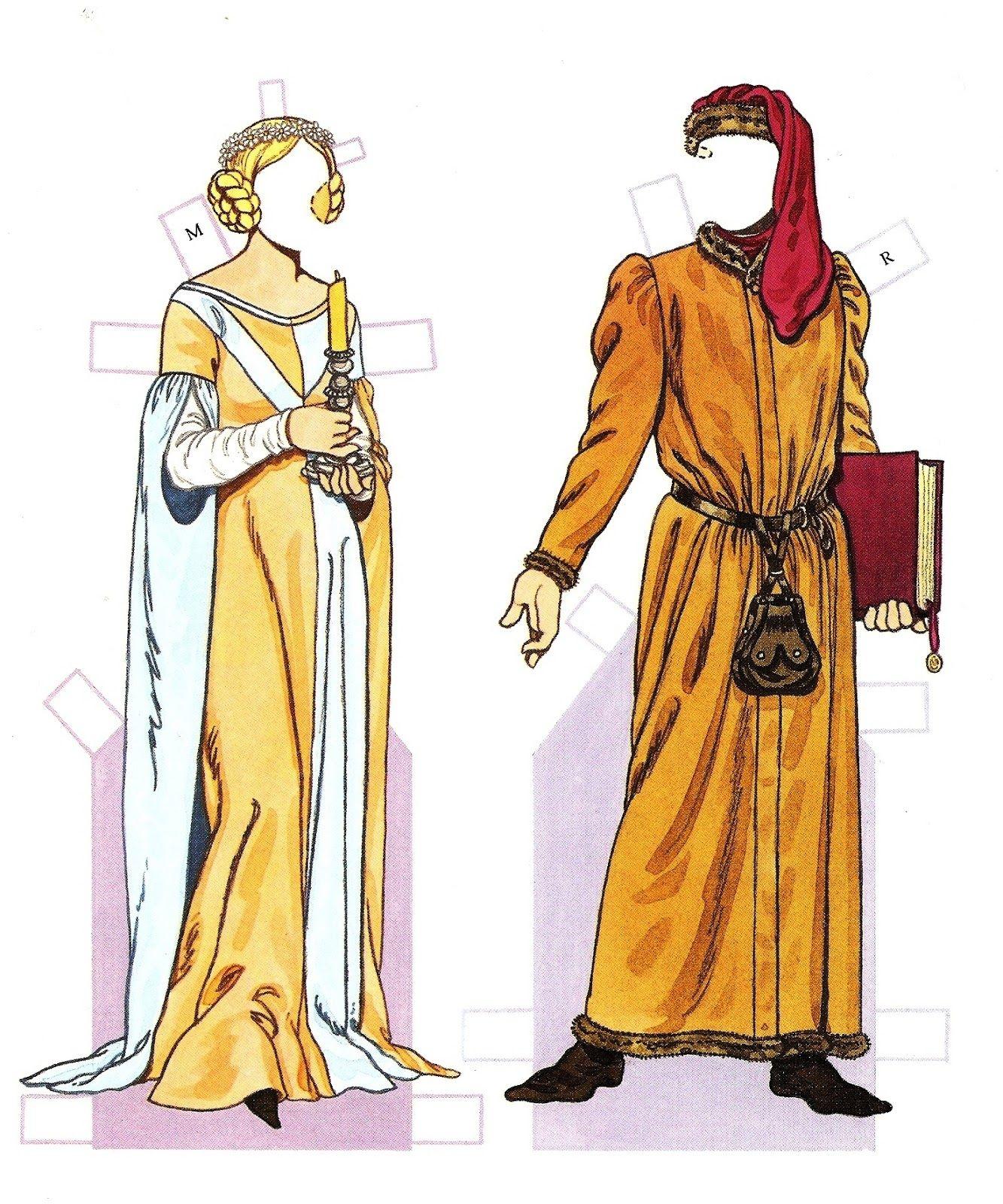 Medieval Period 1200 - 1350   Costumestom Tierney   Paper Dolls - Medieval Paper Dolls Free Printable
