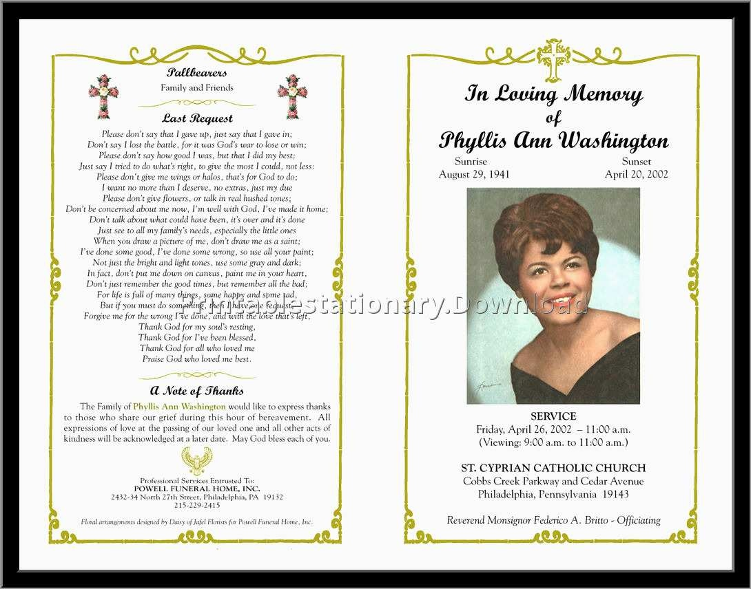 Memorial Cards For Funeral Template Free Great Free Funeral Program - Free Printable Funeral Prayer Card Template