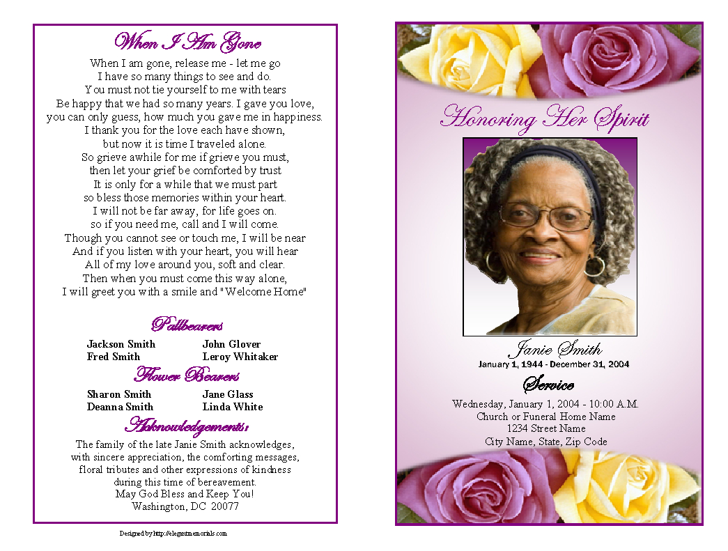 Memorial Service Programs Sample   Choose From A Variety Of Cover - Free Printable Funeral Program Template