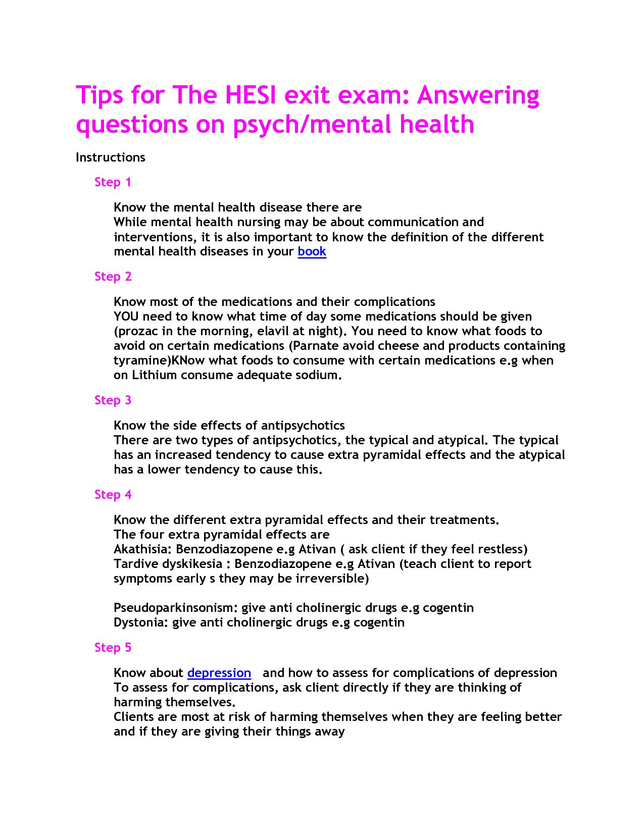 Mental Health Hesi Study Guide | School | Mental Health Nursing - Free Printable Hesi Study Guide