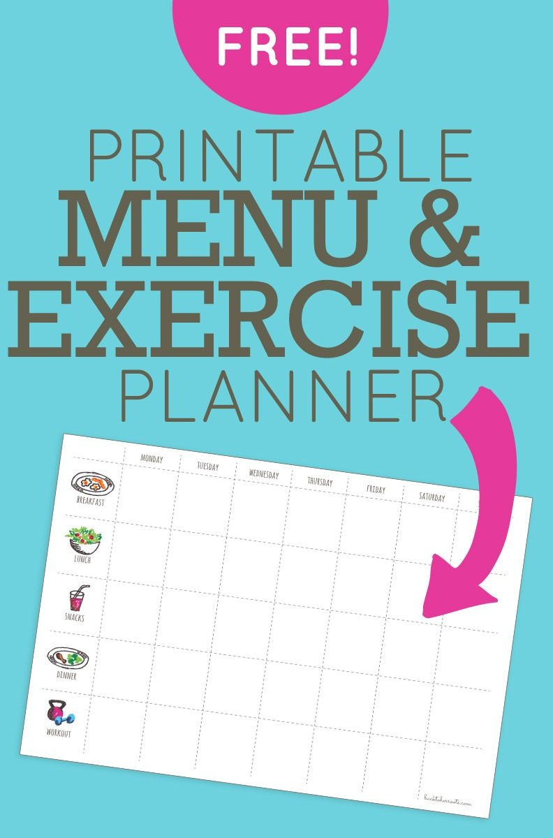 Menu + Exercise Planner (Free Printable!) | Chores | Fitness Planner - Free Printable Workout Plans