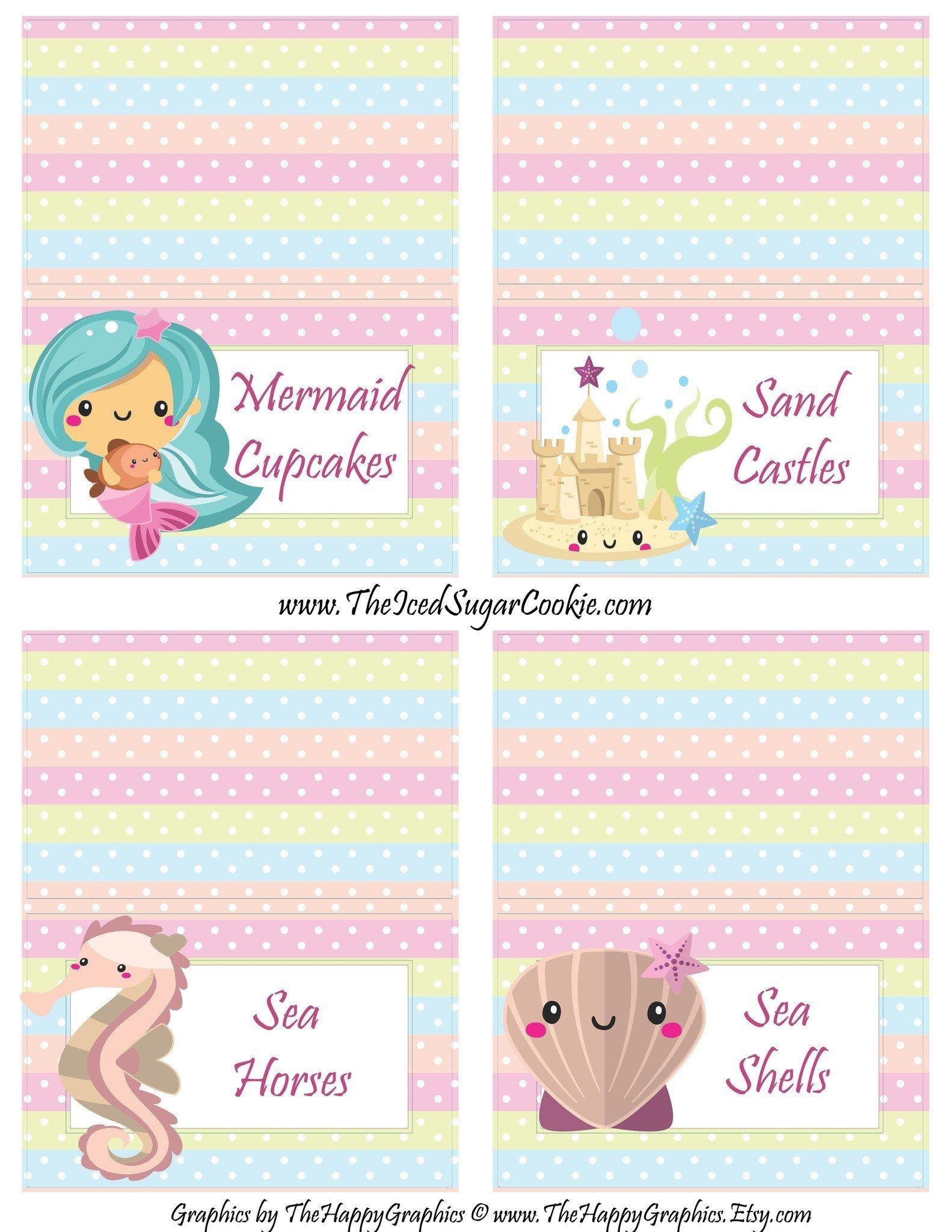 Mermaid Birthday Party Printables | Digital Download | First - Free Printable Mermaid Cupcake Toppers