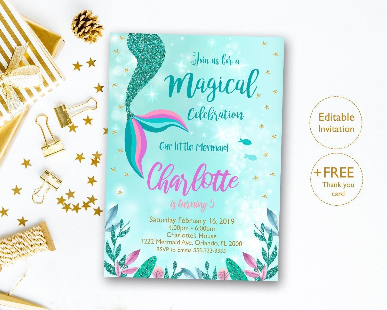 Mermaid Invitation Editable Mermaid Tail Invitation Mermaid | Etsy - Free Printable Mermaid Thank You Cards