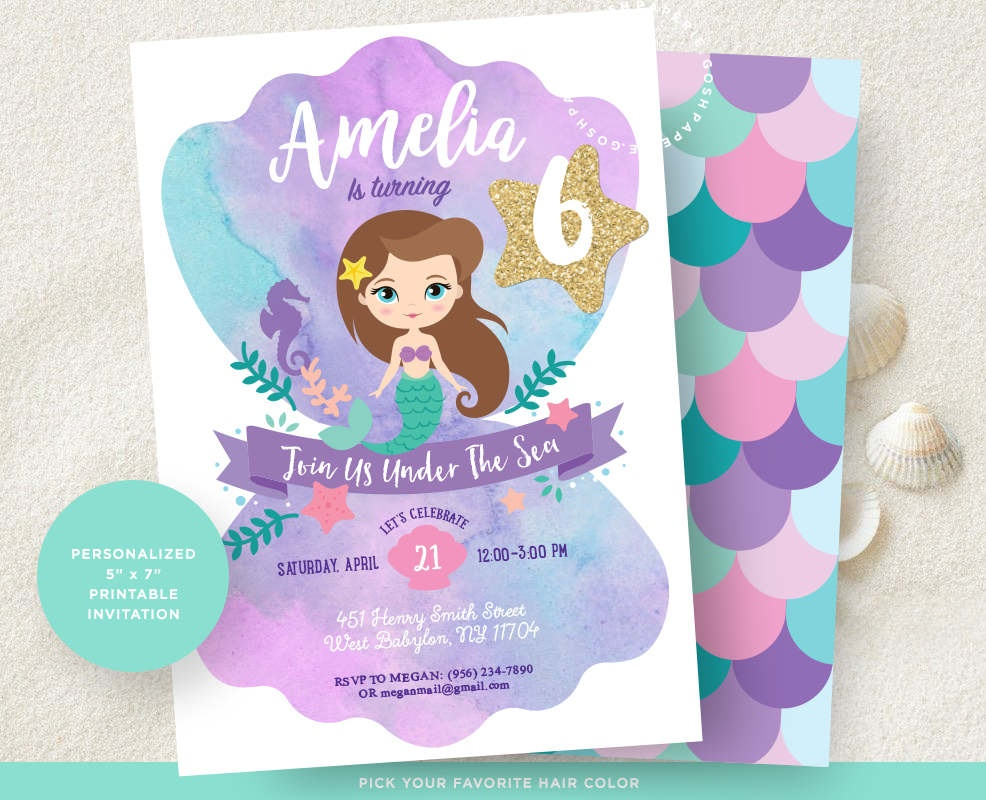 Mermaid Invitation. Little Mermaid Invitation. Mermaid | Etsy - Mermaid Party Invitations Printable Free