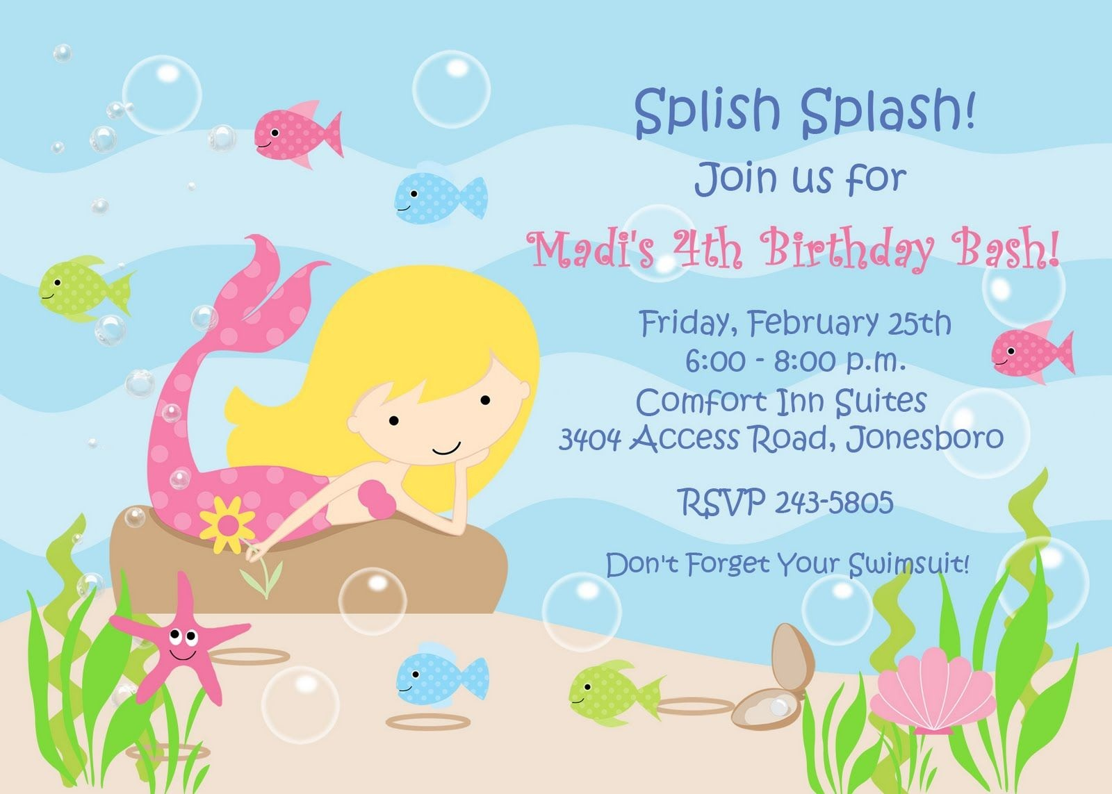 Mermaid Invitation Template Free – Invitetown | Jayda's 2Nd Birthday - Mermaid Party Invitations Printable Free
