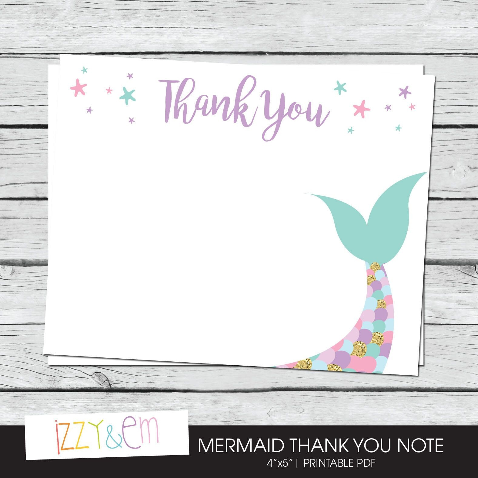 Mermaid Thank You Cards - Printable Thank You Notes - Birthday Thank - Free Printable Mermaid Thank You Cards