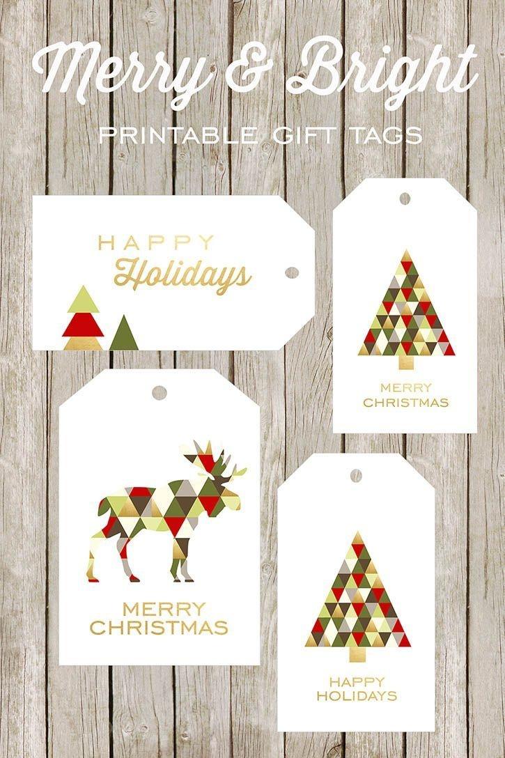 Merry And Bright Printable Gift Tags | Christmas | Christmas Gift - Free Printable Christmas Gift Tags