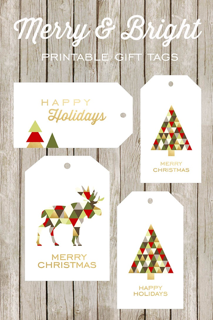 Merry And Bright Printable Gift Tags - Free Printable Happy Holidays Gift Tags