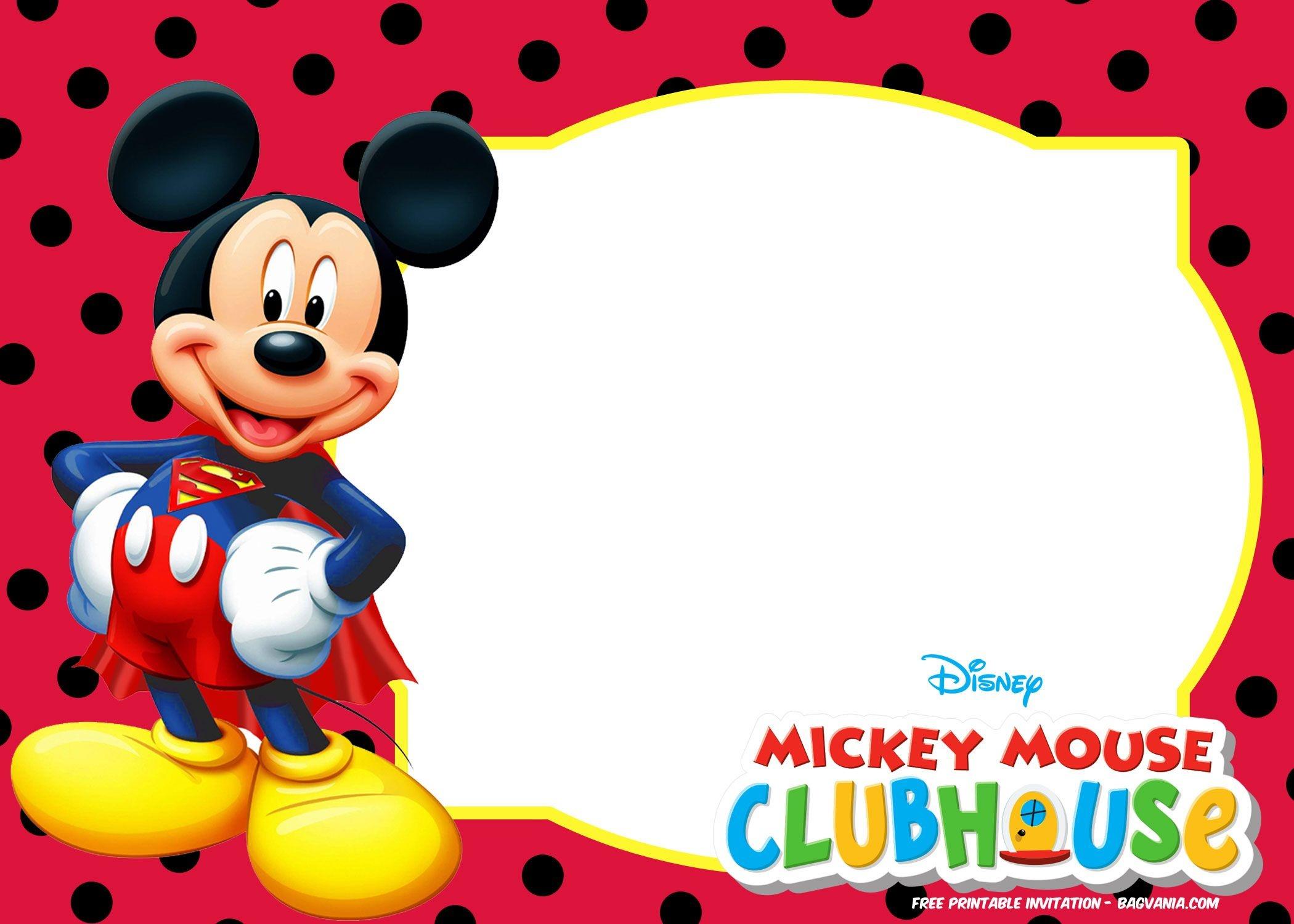 Mickey Mouse Invitations Template Free - Tutlin.psstech.co - Free Mickey Mouse Printable Templates