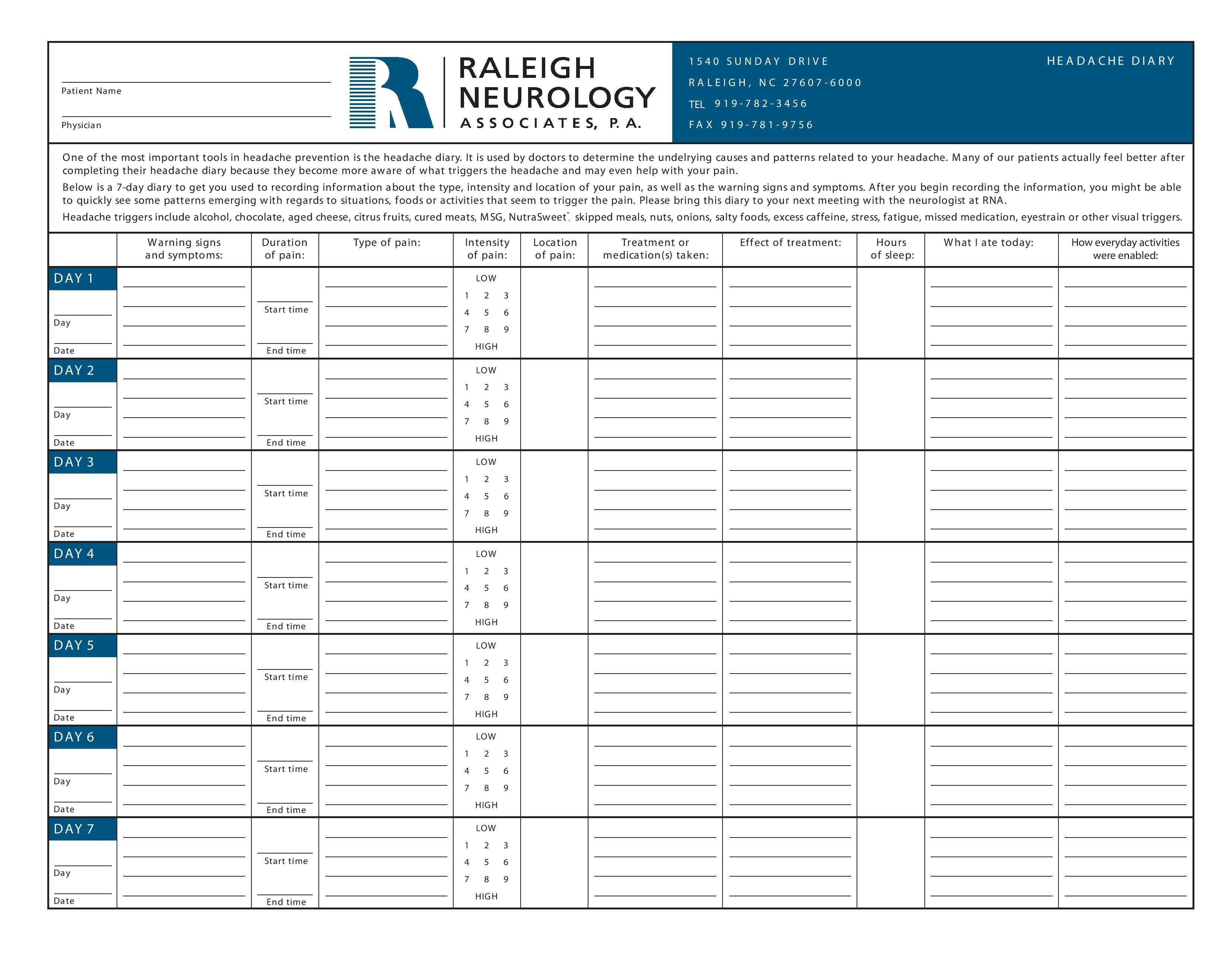 Migraine Diary | Migraines | Migraine Diary, Migraine, Headache Relief - Free Printable Headache Diary