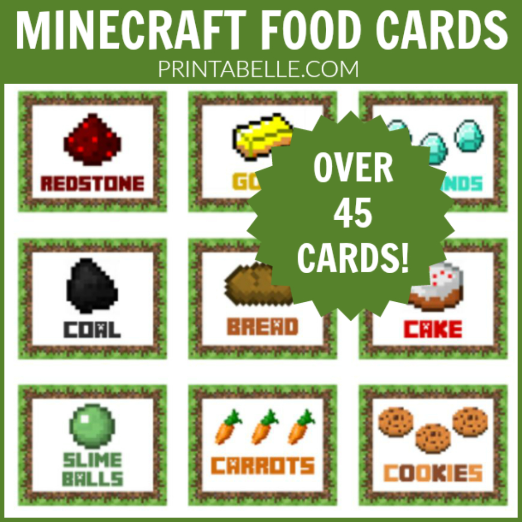 Minecraft Food Cards Party Printables | Minecraft Party Ideas - Free Printable Minecraft Food Labels