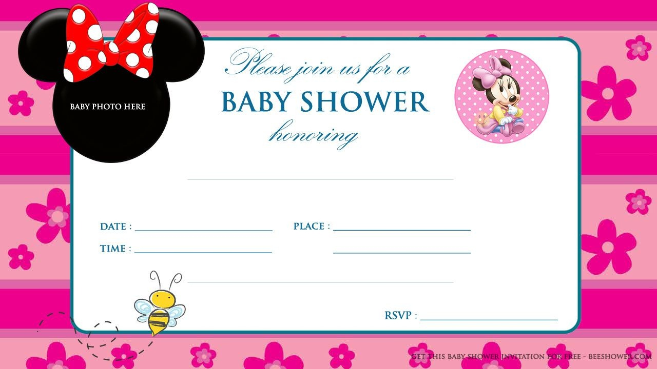 Minnie Mouse Baby Shower Invitations   Party Design Ideas   Minnie - Free Printable Blank Baby Shower Invitations