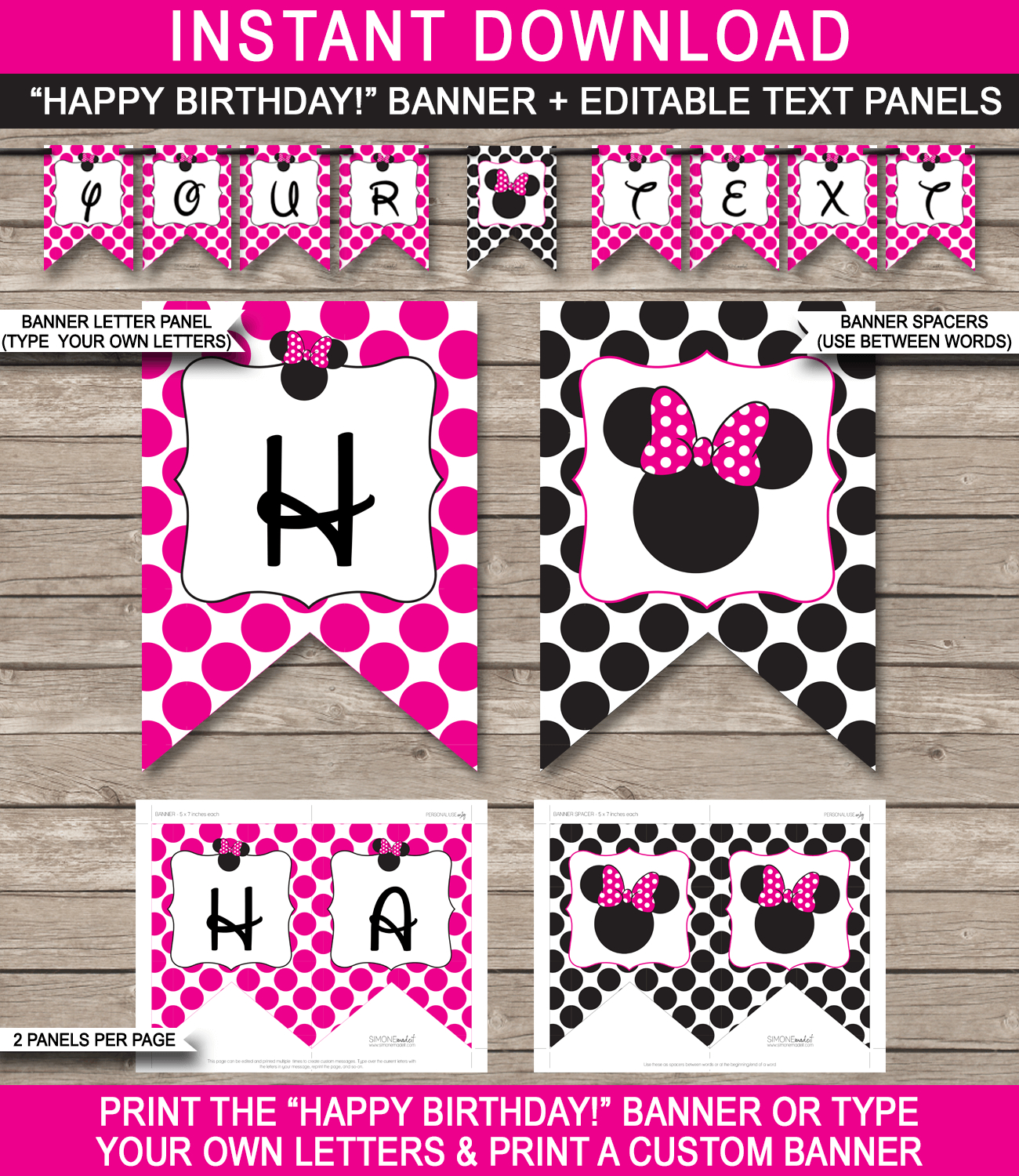 Minnie Mouse Party Banner Template | Birthday Banner | Editable Bunting - Free Printable Mickey Mouse Birthday Banner