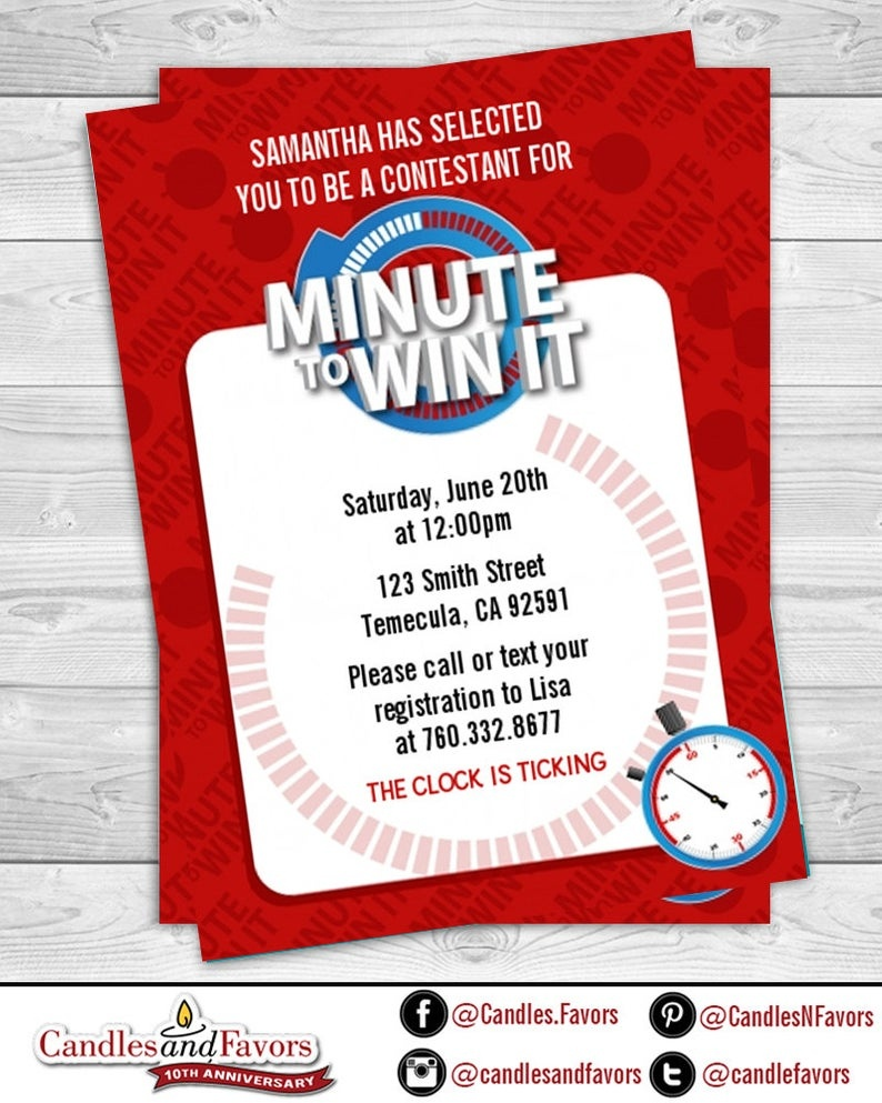 Minute To Win It Birthday Party Invitation Professionally   Etsy - Free Printable Minute To Win It Invitations