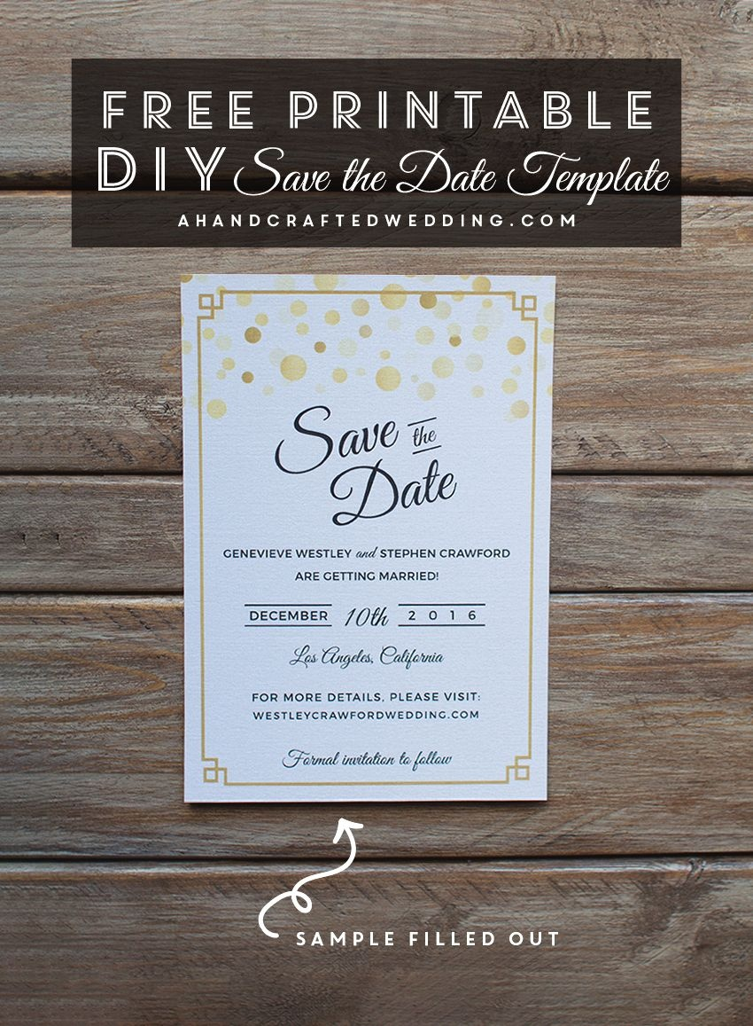 Modern Diy Save The Date Free Printable | | Free Wedding Printables - Free Printable Save The Date Birthday Invitations