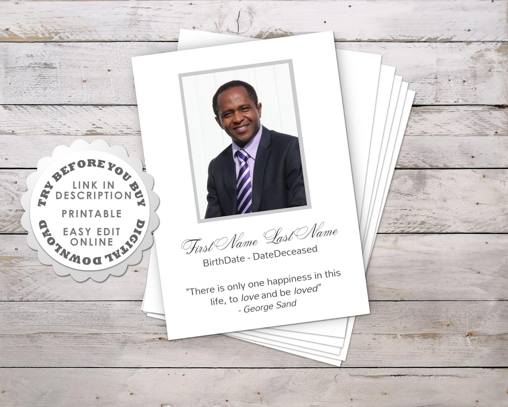 Modern Funeral Prayer Card Template • Funeral Potatoes - Free Printable Funeral Prayer Card Template
