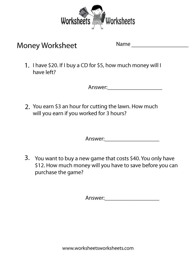 Money Word Problems Worksheet - Free Printable Educational Worksheet - Free Printable Money Word Problems Worksheets