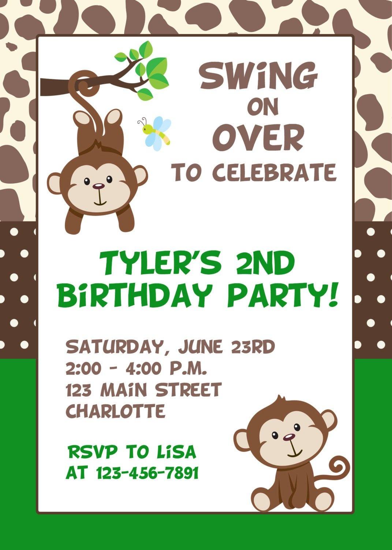 Monkey Birthday Invitations Free Printable - Free Printable Monkey Birthday Party Invitations
