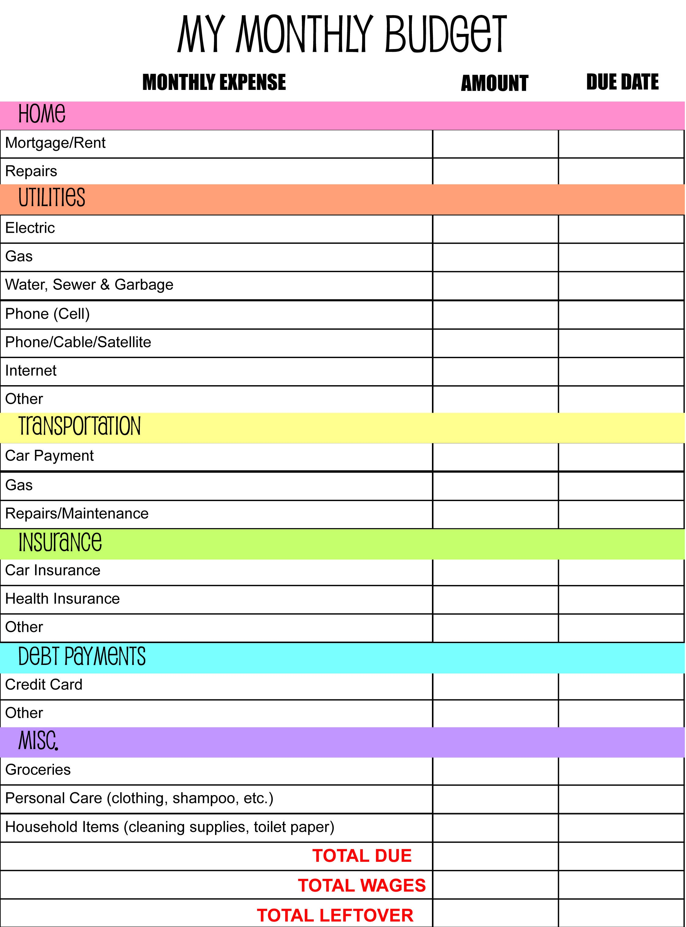 Monthly Budget Planner I Made @ Anderson Publications | All On My - Budgeting Charts Free Printable