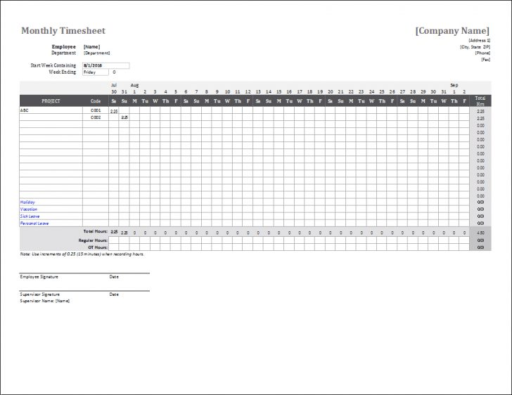 Free Printable Blank Time Sheets