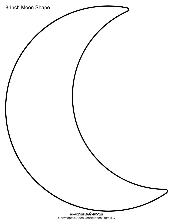 Moon Template Shape 8 Inch Crescent Moon Stencil | Printables | Moon - Free Shape Templates Printable