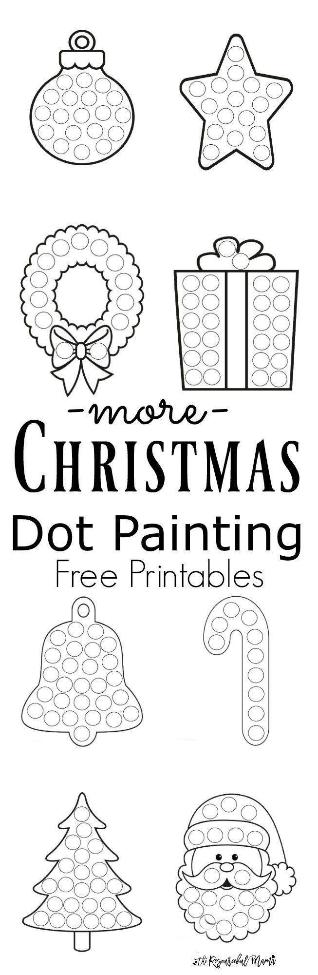 More Christmas Dot Painting {Free Printables} | Christmas - Free Printable Christmas Activities