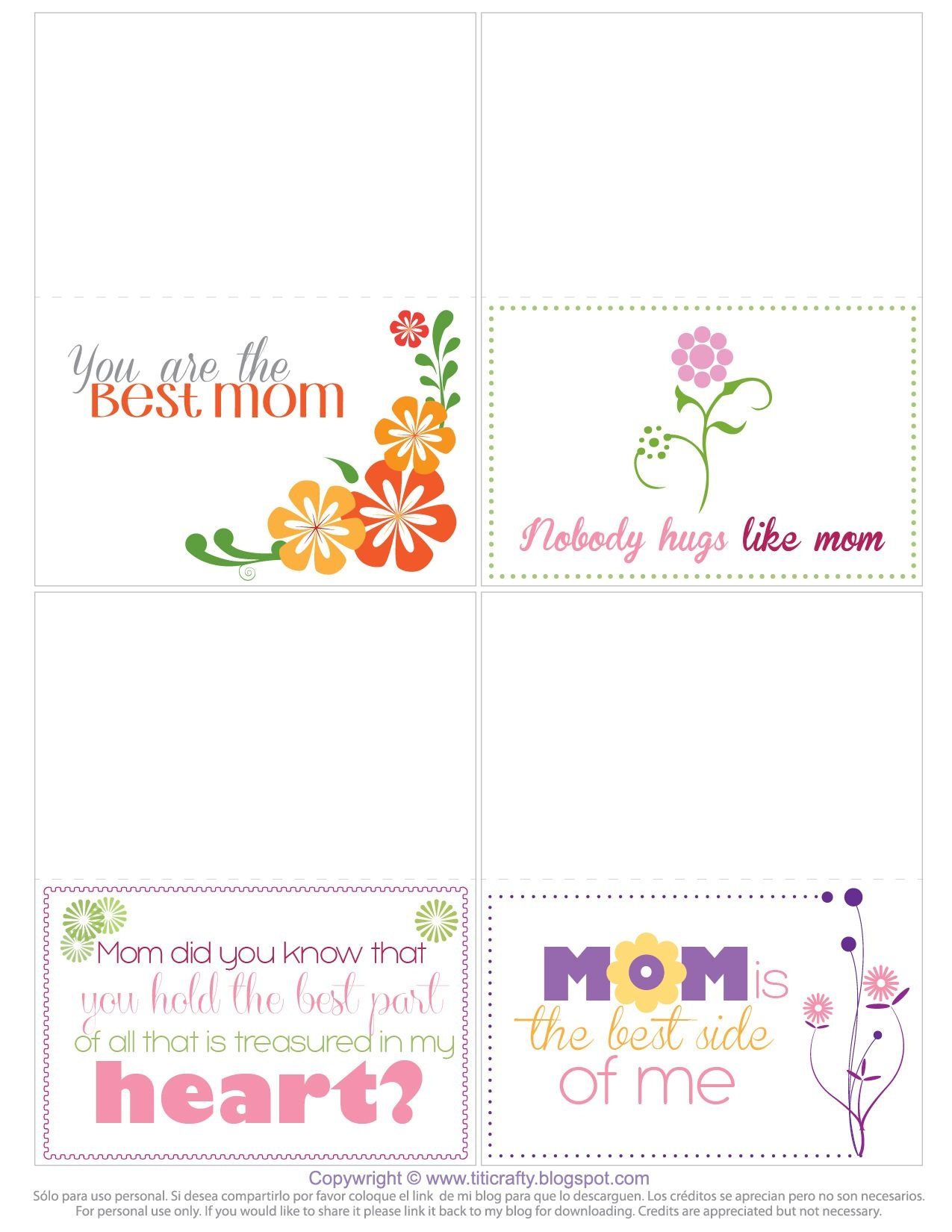 Mother's Day Free Printable Mini Cards | Holidays | Printable Cards - Free Printable Personal Cards