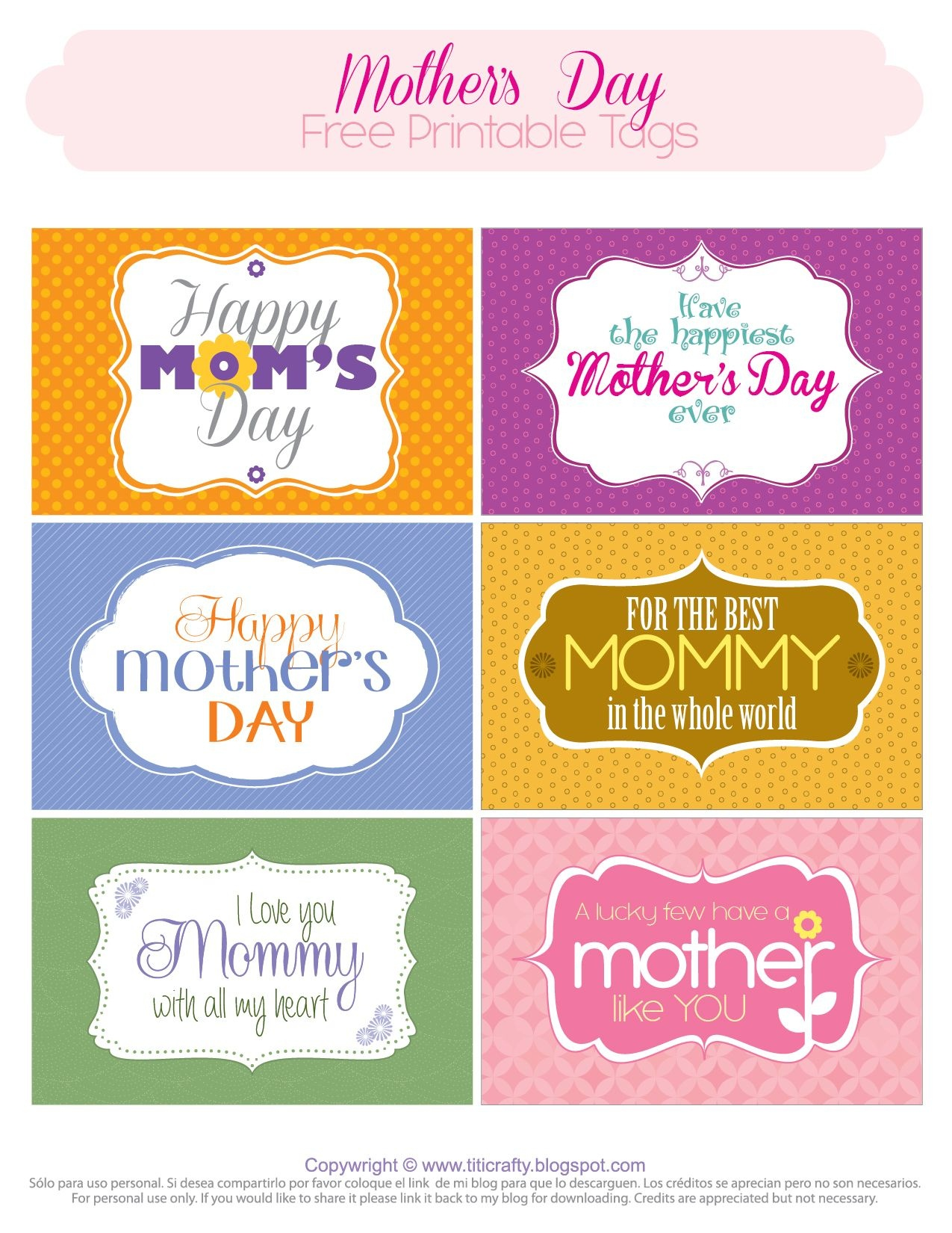 Mother's Day Free Printable Tags   *{Tcn} Freebies   Mothers Day - Free Printable Mothers Day Cards No Download