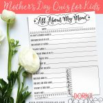 Mother's Day Quiz For Kids   Free Printable | Celebrate! Birthdays   Free Printable Mother's Day Questionnaire