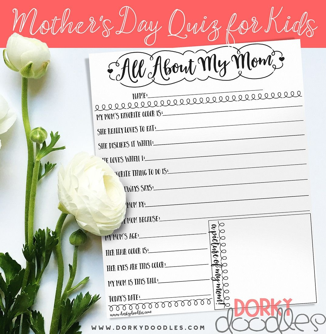 Mother's Day Quiz For Kids - Free Printable | Celebrate! Birthdays - Free Printable Mother's Day Questionnaire