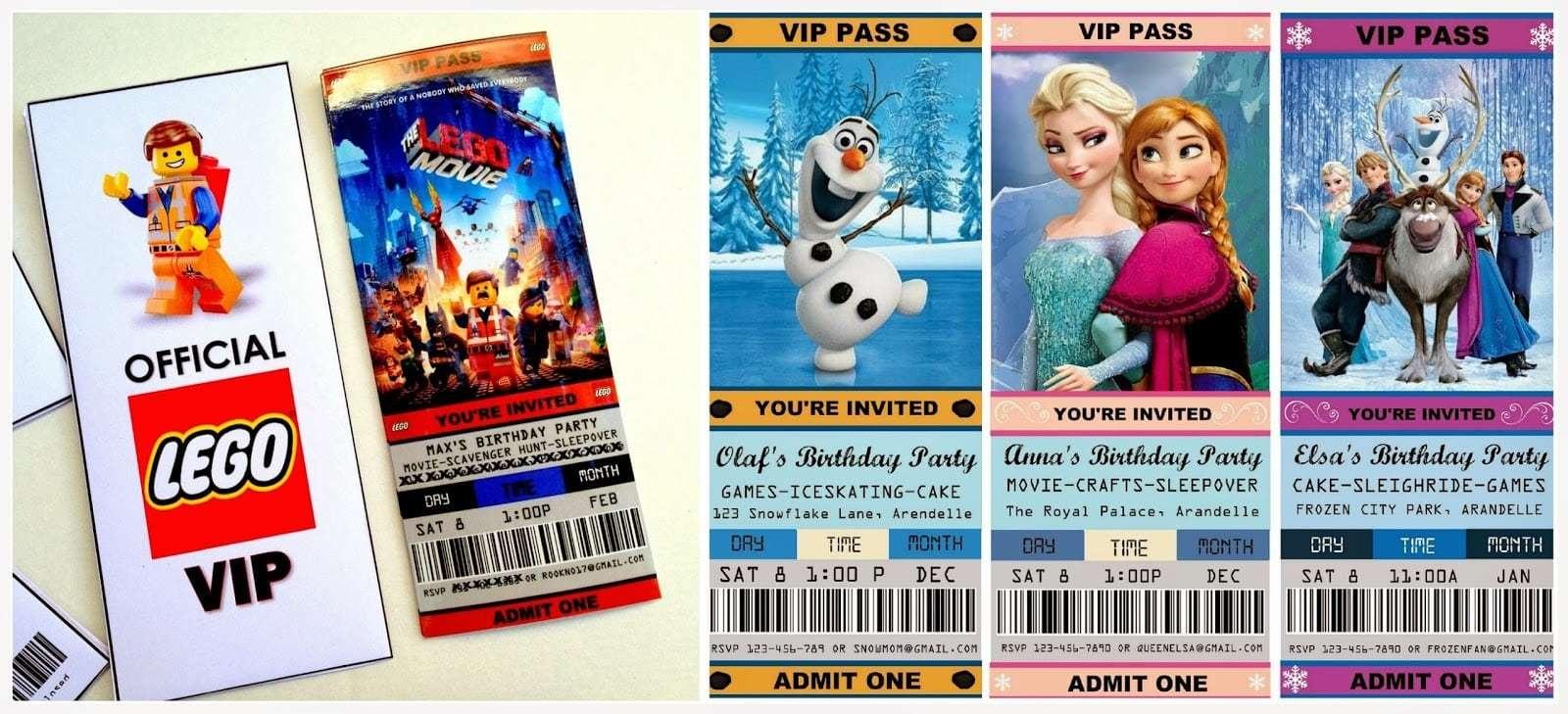 Movie Birthday Invitation Templates. Frozen Movie Ticket Birthday - Free Printable Movie Ticket Birthday Party Invitations