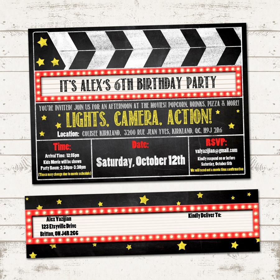 Movie Birthday Party Invitation With Wrap Around Address Labels - Free Printable Movie Ticket Birthday Party Invitations