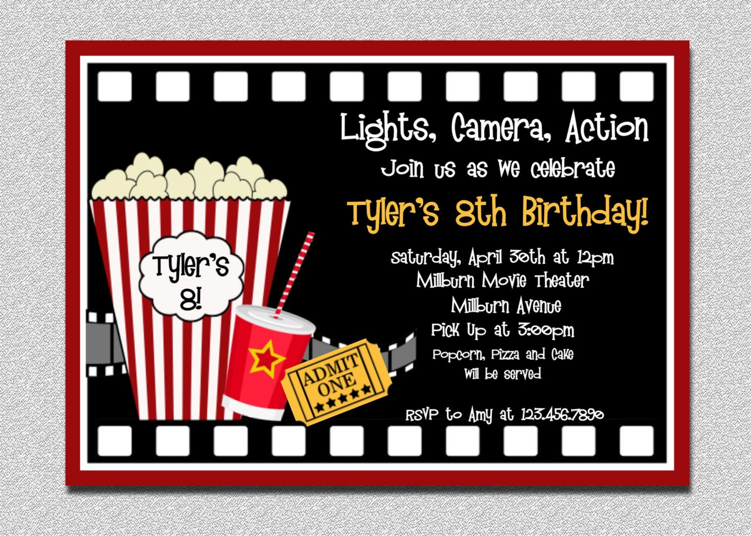 Movie Themed Party Invitations - Party Invitation Collection - Movie Birthday Party Invitations Free Printable