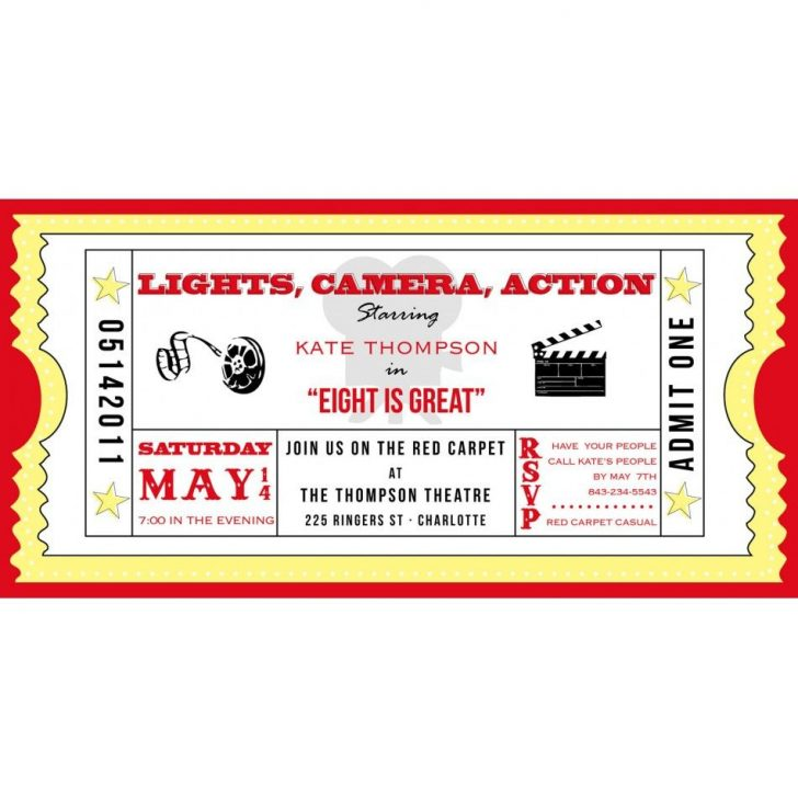 Free Printable Movie Ticket Birthday Party Invitations