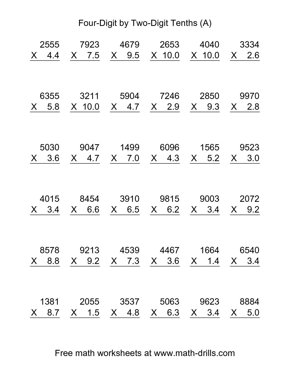 Multiplication Worksheets With Decimals : Cmediadrivers - Multiplying Decimals Free Printable Worksheets