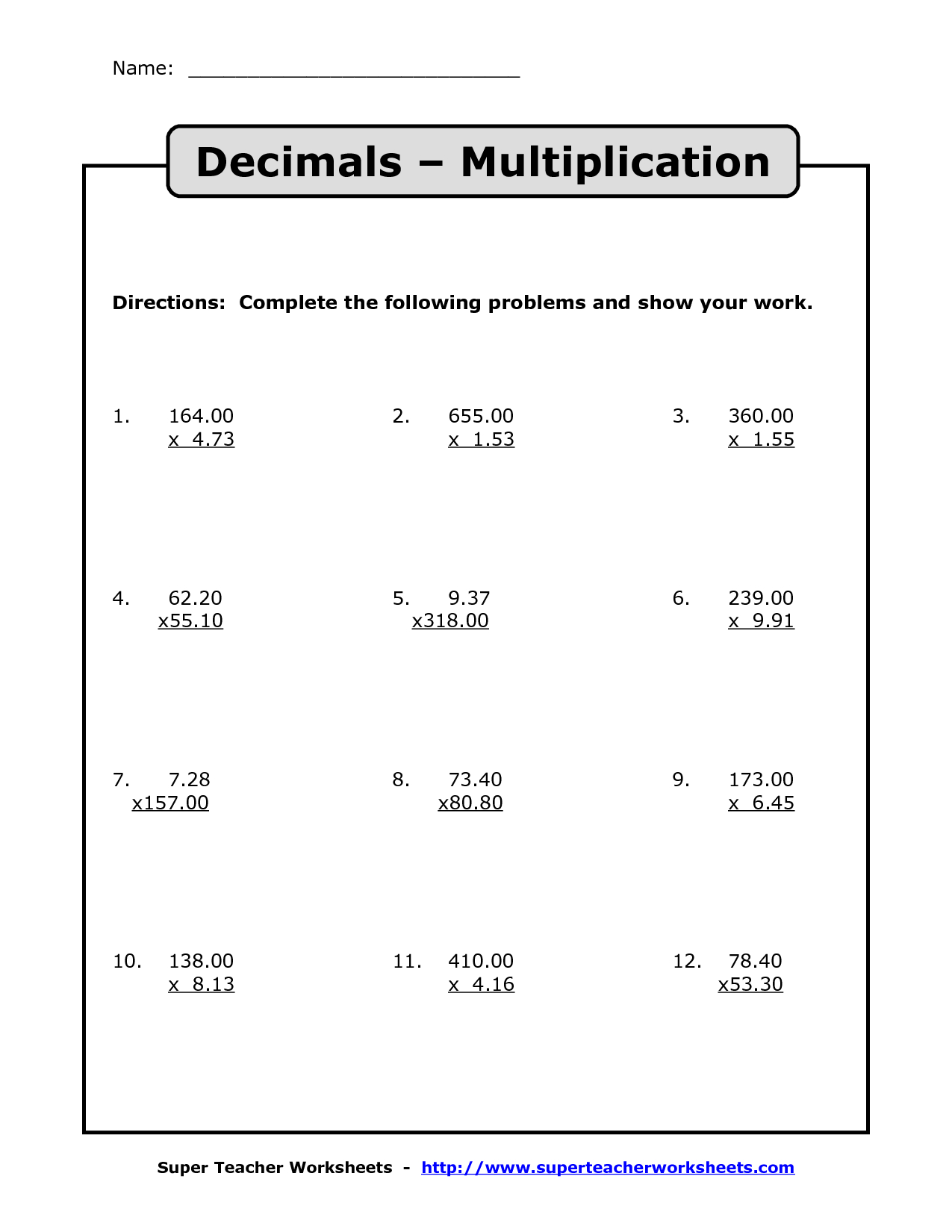 Multiplying Decimals | Multiplication With Decimals Worksheets - Free Printable Multiplying Decimals Worksheets