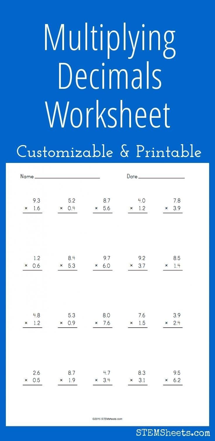 Multiplying Decimals Worksheet - Customizable And Printable | Math - Multiplying Decimals Free Printable Worksheets