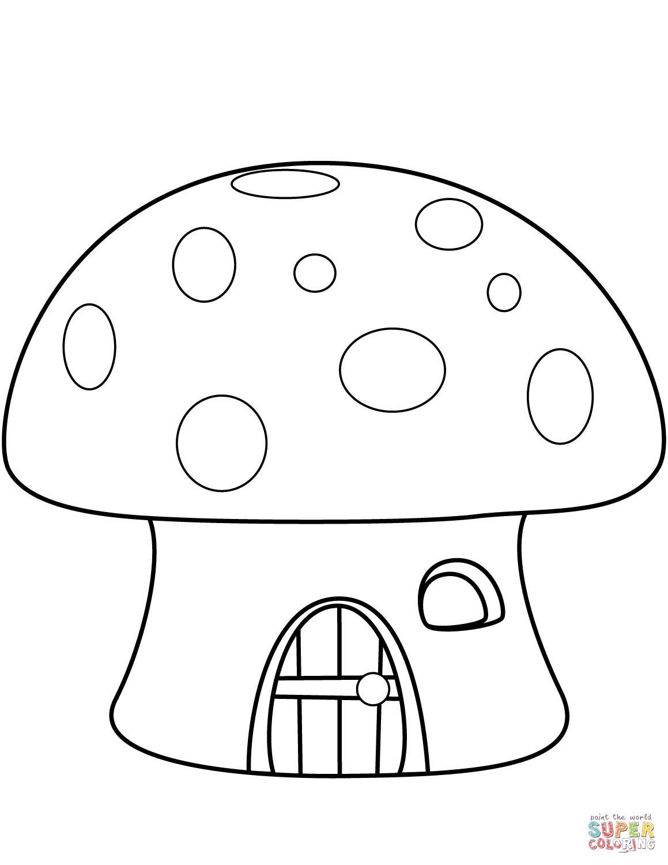 Mushroom House Coloring Page | Free Printable Coloring Pages - Free Printable Mushroom Coloring Pages