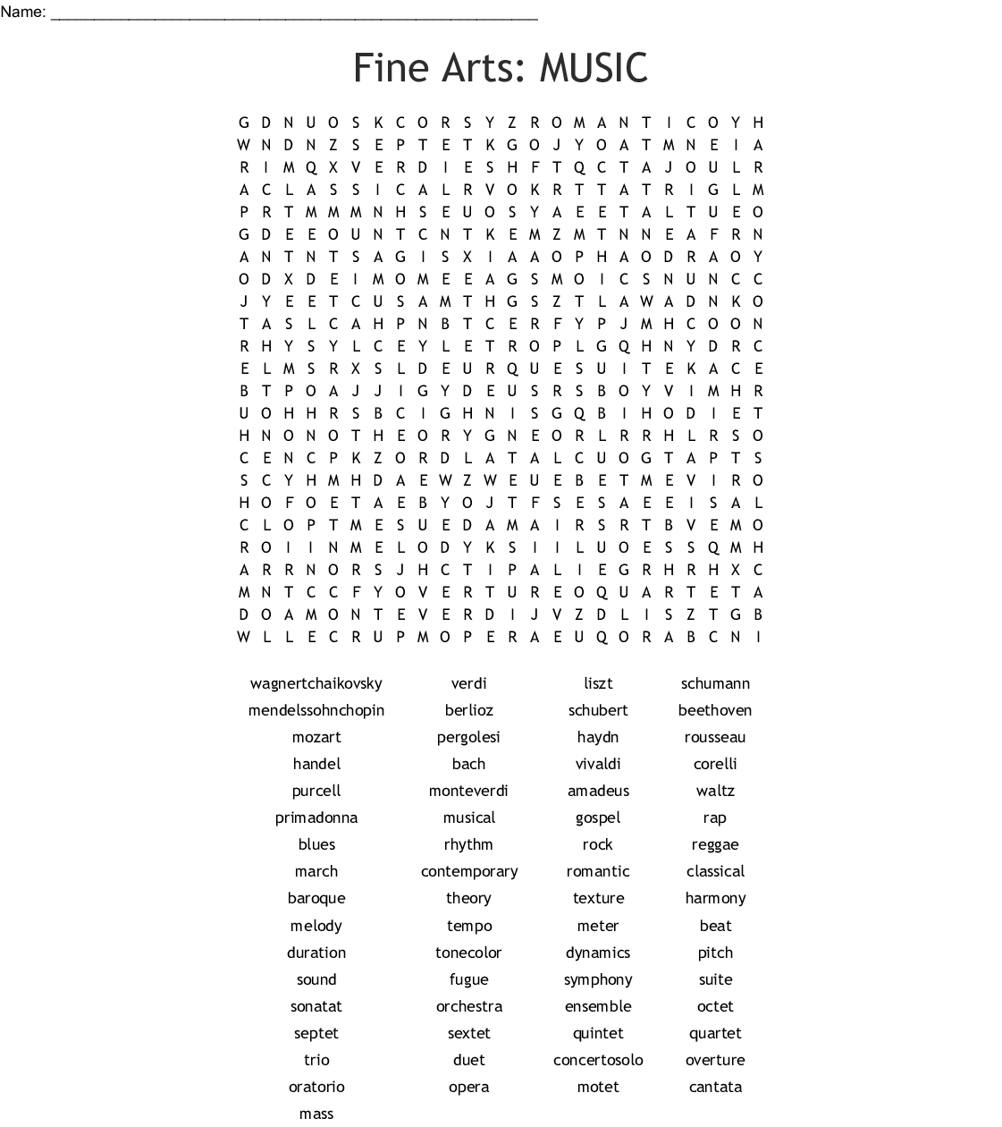 Musical Terms Word Search - Wordmint - Free Printable Music Word Searches